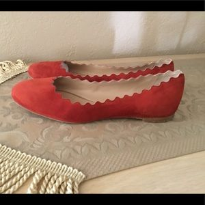 Chloe Lauren Scalloped Red Suede Ballet Flats